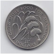 MONTSERATAS 4 DOLLLARS 1970 KM # 30 AU F.A.O