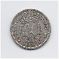 MOZAMBIKAS 10 ESCUDOS 1952 KM # 79 VF