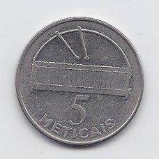 MOZAMBIKAS 5 METICAIS 2006 KM # 139 VF