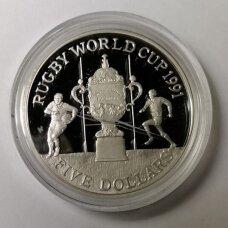 NAUJOJI ZELANDIJA 5 DOLLARS 1991 KM # 80a PROOF Regbio pasaulio taurė
