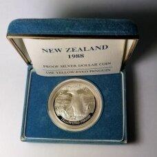 NAUJOJI ZELANDIJA 5 DOLLARS 1988 KM # 66a PROOF Geltonakis pingvinas