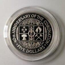 NAUJOJI ZELANDIJA 5 DOLLARS 1993 KM # 88a PROOF 40 m. Karūnacijai (kapsulėje)