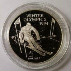 NAUJOJI ZELANDIJA 5 DOLLARS 1994 KM # 96 PROOF Žiemos Olimpiada