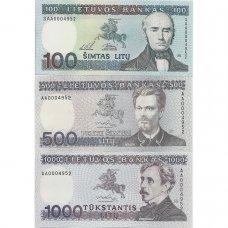 Neišleistų banknotų rinkinys: 500 ir 1000 litų 1991 m., 100 litų 1994 m. (SERIJOS NUMERIS: AA0004952)