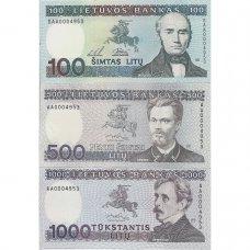 Neišleistų banknotų rinkinys: 500 ir 1000 litų 1991 m., 100 litų 1994 m. (SERIJOS NUMERIS: AA0004953)