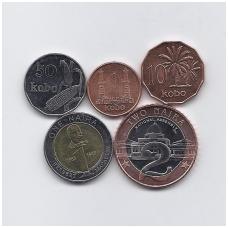 NIGERIJA 1991 - 2006 m. 5 MONETŲ RINKINYS