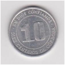 NIKARAGVA 10 CENTAVOS 1974 KM # 29 XF/AU