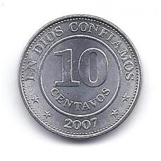 NIKARAGVA 10 CENTAVOS 2007 KM # 105 AU