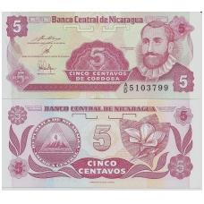 NIKARAGVA 5 CENTAVOS 1991 P # 168 UNC
