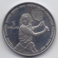 NIUJĖ 5 DOLLARS 1987 KM # 5 AU Steffi Graf