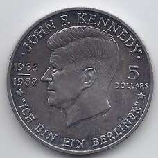 NIUJĖ 5 DOLLARS 1988 KM # 17 AU J. F. KENNEDY