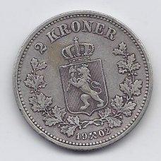 NORVEGIJA 2 KRONER 1902 KM # 359 VF