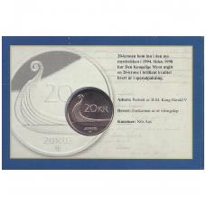 NORVEGIJA 20 KRONER 2003 KM # 453 UNC ( KORTELĖJE )