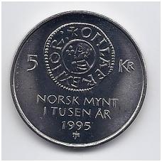 NORVEGIJA 5 KRONER 1995 KM # 456 UNC