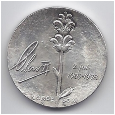 NORVEGIJA 50 KRONER 1978 KM # 424 AU KARALIAUS 75-metis