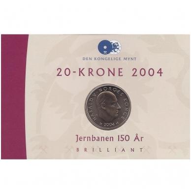 NORVEGIJA 20 KRONER 2004 KM # 478 UNC PIRMASIS GELEŽINKELIS ( COINCARD ) 3