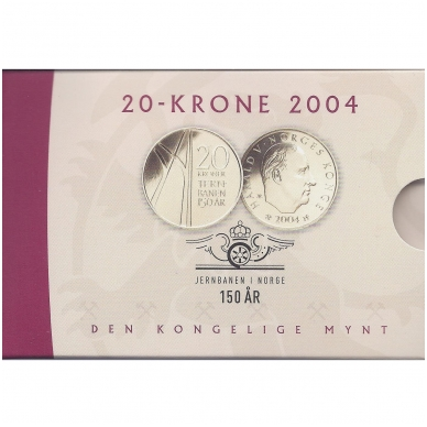 NORVEGIJA 20 KRONER 2004 KM # 478 UNC PIRMASIS GELEŽINKELIS ( COINCARD )