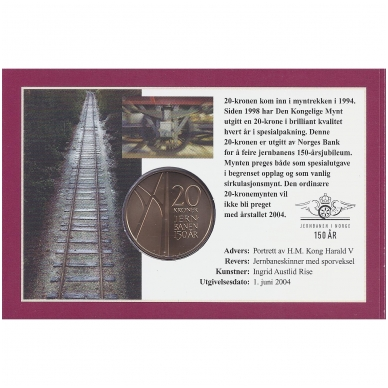 NORVEGIJA 20 KRONER 2004 KM # 478 UNC PIRMASIS GELEŽINKELIS ( COINCARD ) 2