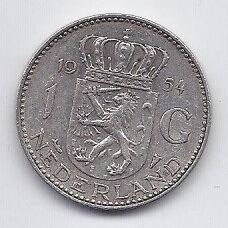 NYDERLANDAI 1 GULDEN 1954 KM # 184 VF