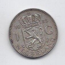 NYDERLANDAI 1 GULDEN 1955 KM # 184 VF