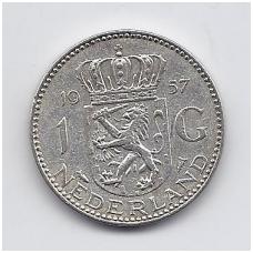 NYDERLANDAI 1 GULDEN 1957 KM # 184 VF