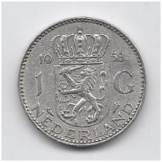 NYDERLANDAI 1 GULDEN 1958 KM # 184 VF