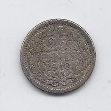 NYDERLANDAI 25 CENTS 1918 KM # 146 VF
