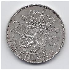 NYDERLANDAI 2.5 GULDENO 1960 KM # 185 VF