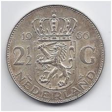 NYDERLANDAI 2.5 GULDENO 1966 KM # 185 VF