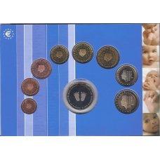 NYDERLANDAI 2005 m. pilnas euro monetų rinkinukas (lankstinukyje )