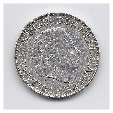 NYDERLANDAI 1 GULDEN 1957 KM # 184 VF 2