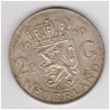 NYDERLANDAI 2.5 GULDENO 1959 KM # 185 VF