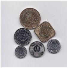OLANDŲ ANTILAI 6 monetų komplektas (1 centas - 1 guldenas)