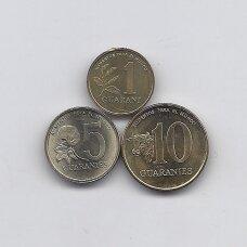 PARAGVAJUS 1992 - 1996 m. 3 monetų rinkinukas