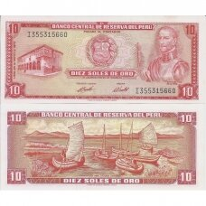 PERU 10 SOLES DE ORO 1973 P # 100c UNC