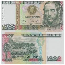 PERU 1000 INTIS 1988 P # 136b UNC