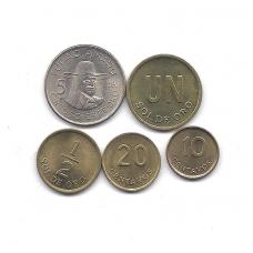 PERU 1975 - 1976 5 monetų komplektas