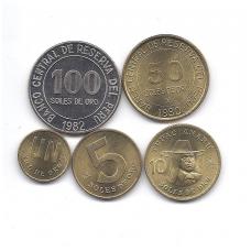 PERU 1978 - 1983 m. penkių monetų komplektas