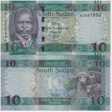 PIETŲ SUDANAS 10 POUNDS 2015 P # 7 UNC