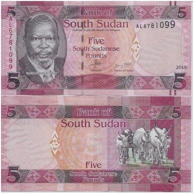 PIETŲ SUDANAS 5 POUNDS 2015 P # 6 UNC
