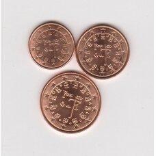 PORTUGALIJA 2002 m. euro centų komplektas ( 1, 2 ir 5 eurocentai )