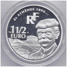 PRANCŪZIJA 1 1/2 EURO 2003 KM # 1361 PJERAS DE KUBERTINAS