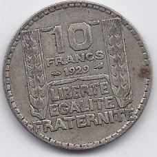 PRANCŪZIJA 10 FRANCS 1929 KM # 878 VF