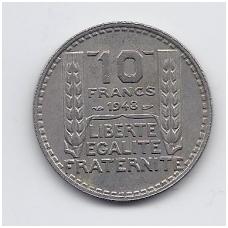 PRANCŪZIJA 10 FRANCS 1948 KM # 909.1 XF
