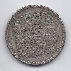 PRANCŪZIJA 20 FRANCS 1933 KM # 879 F-VF