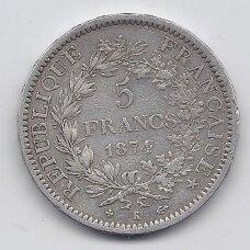 PRANCŪZIJA 5 FRANCS 1874 K KM # 820.2 F/VF
