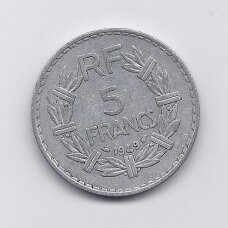 PRANCŪZIJA 5 FRANCS 1949 KM # 888b.1 VF