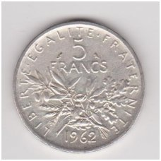PRANCŪZIJA 5 FRANCS 1962 KM # 926 VF/XF