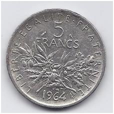 PRANCŪZIJA 5 FRANCS 1964 KM # 926 VF
