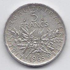 PRANCŪZIJA 5 FRANCS 1965 KM # 926 VF